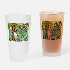 Basenji in Irises Drinking Glass