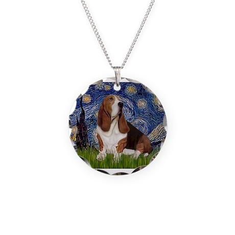 Starry Night Basset Necklace Circle Charm