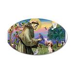 Saint Francis / Beagle 20x12 Oval Wall Decal