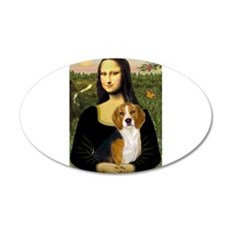 Mona Lisa & Beagle 22x14 Oval Wall Peel