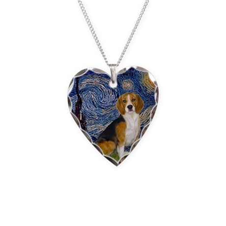 Starry Night & Beagle Necklace Heart Charm