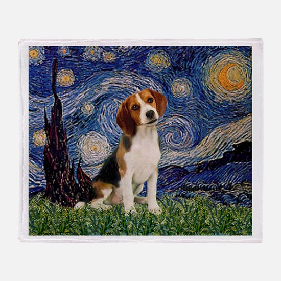 Starry Night & Beagle Pup Throw Blanket