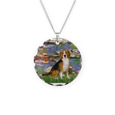 Beagle in Monet's Lilies Necklace