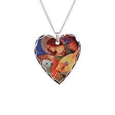 Mandolin / Bedlington Terrier Necklace Heart Charm
