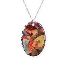 Mandolin / Bedlington Terrier Necklace Oval Charm