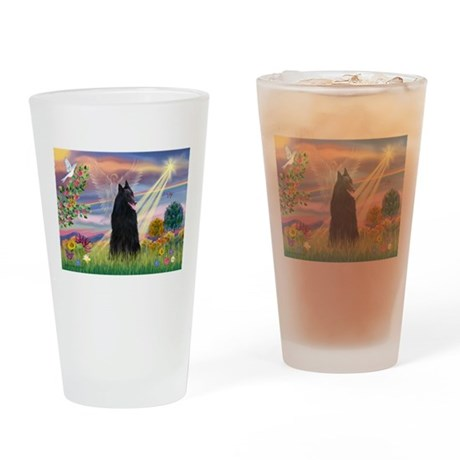 Cloud Angel & Belgian Shepherd Drinking Glass