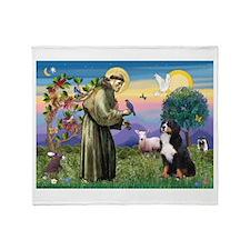 St. Francis & Bernese Throw Blanket