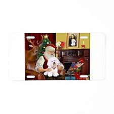 Santa's Bichon Frise Aluminum License Plate