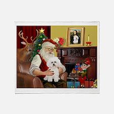 Santa's Bichon Frise Throw Blanket