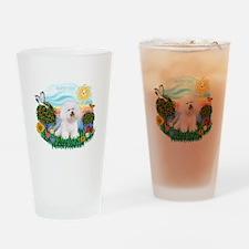Happy Day Bichon Frise Drinking Glass