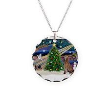Xmas Magic & Bloodhound Necklace Circle Charm