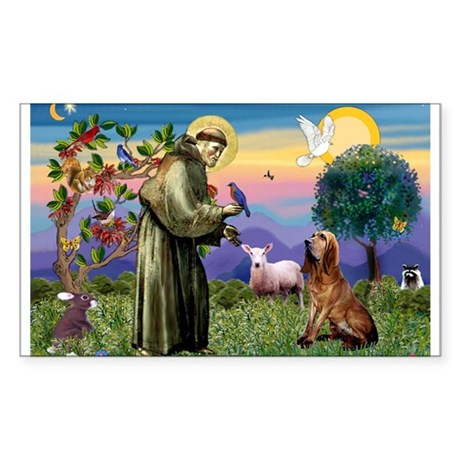 St Francis & Bloodhound Sticker (Rectangle)