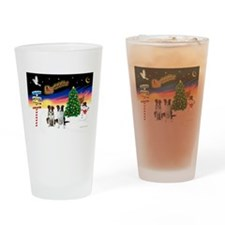 XmasSigns/2 Border Collies Drinking Glass