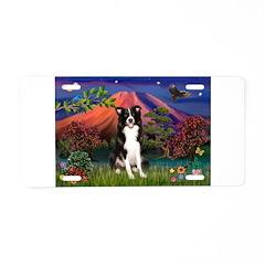 Mt Fuji Border Collie Aluminum License Plate