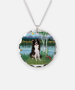 Birches / Border Collie Necklace Circle Charm