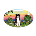 Bright Country/Border Collie 20x12 Oval Wall Decal