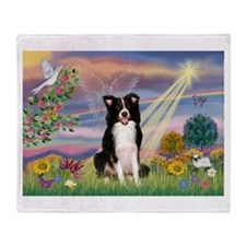 Cloud Angel Border Collie Throw Blanket