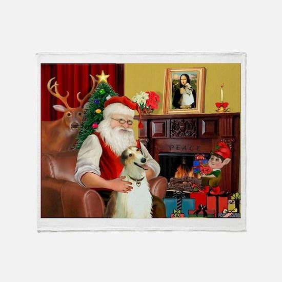 Santas Borzoi Throw Blanket