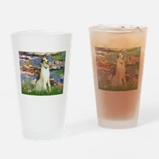 Borzoi in Monet's Lilies Drinking Glass