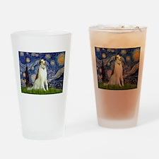 Starry Night & Borzoi Drinking Glass