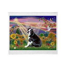 Boston Terrier and Autumn Angel Throw Blanket