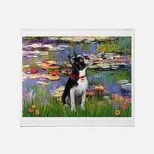 Lilies /Boston Terrier Throw Blanket