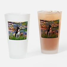 Lilies /Boston Terrier Drinking Glass