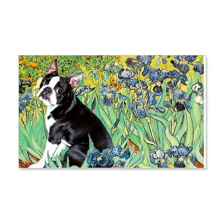 Irises & Boston Terrier 22x14 Wall Peel