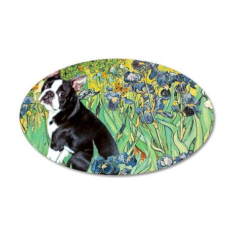 Irises & Boston Terrier 22x14 Oval Wall Peel