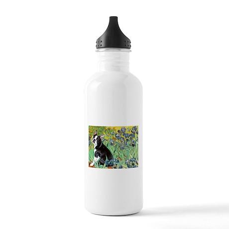 Irises & Boston Terrier Stainless Water Bottle 1.0
