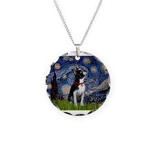 Starry Night/Boston Terrier Necklace