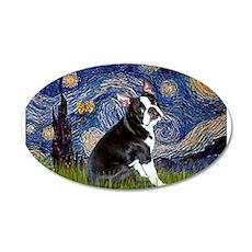 Starry Night/Boston Terrier 22x14 Oval Wall Peel