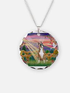 Autumn Angel / Boxer Necklace Circle Charm