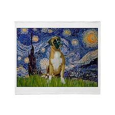 Starry Night & Boxer Throw Blanket
