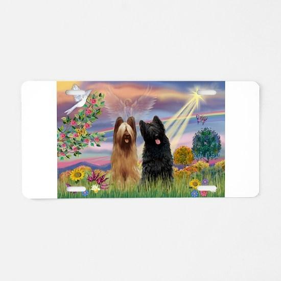 Cloud Angel & Briard Pair Aluminum License Plate
