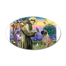 St Francis / Bullmastiff 22x14 Oval Wall Peel