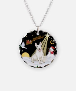 Night Flight/Bull Terrier Necklace Circle Charm
