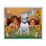 Cherubs / Bull Terrier Throw Blanket