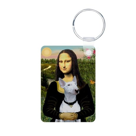Mona Lisa /Bull Terrier Aluminum Photo Keychain