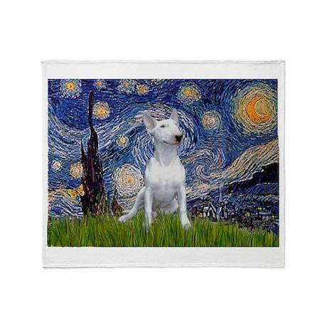 Starry Night/Bull Terrier Throw Blanket