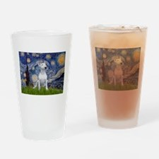 Starry Night/Bull Terrier Drinking Glass