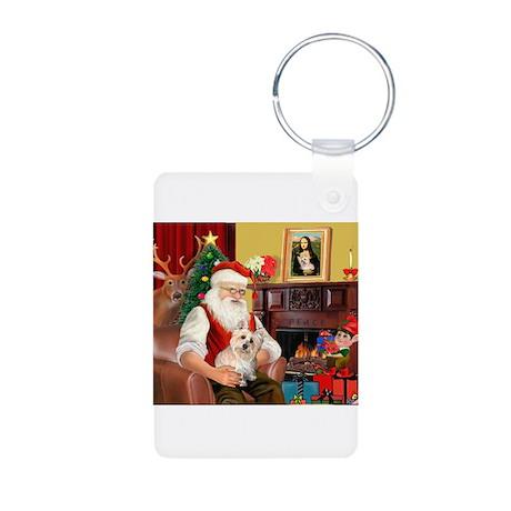 Santa's Cairn Terrier Aluminum Photo Keychain