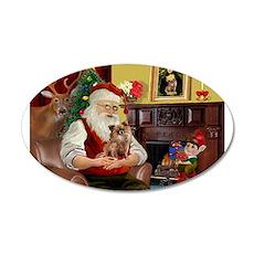 Santa's Chihuahua 22x14 Oval Wall Peel
