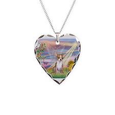 Cloud Angel & Chihuahua (1) Necklace Heart Charm