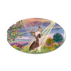 Cloud Angel/Chinese Crested 22x14 Oval Wall Peel