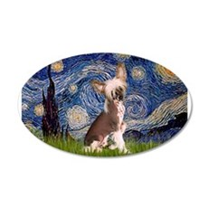 Starry Night/Chinese Crested 22x14 Oval Wall Peel