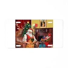 Santa's Shar Pei Aluminum License Plate