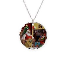 Santa's 2 Chow Chows Necklace Circle Charm