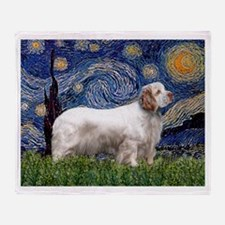 Starry Night Clumber Spaniel Throw Blanket