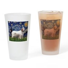 Starry Night Clumber Spaniel Drinking Glass